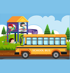 Scene with children playing in park and school bus vector
