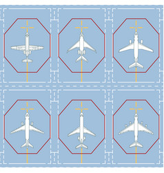 Seamless pattern with passenger airplanes on apron vector