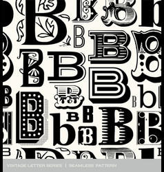 seamless vintage pattern letter B vector image