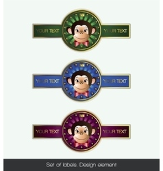 Set label with monkey vector image
