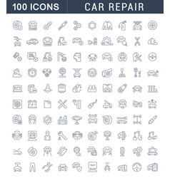 set line icons car repair vector image