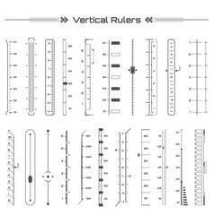 set of black hud vertical rulers infographic vector image