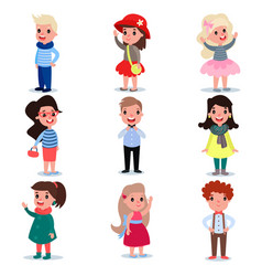 set of little kids wearing different fashion vector image