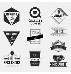 Set of vintage retro coffee insignias or logotypes vector