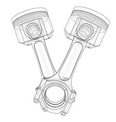 sketch of piston rendering of 3d vector image