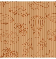 Sketches means of transport vintage seamless vector image
