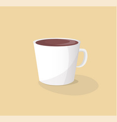 Small white ceramic cup of hot delicious coffee vector