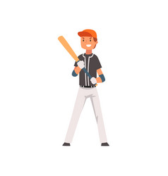 smiling baseball player standing with bat and ball vector image