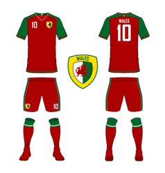 Soccer kit football jersey template for Wales vector image