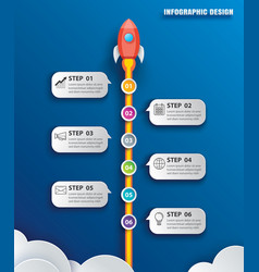 Startup business infographics with 6 data vector