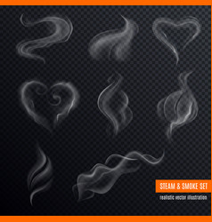 Steam smoke realistic set vector