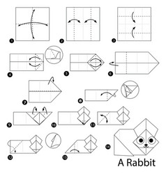 Step instructions how to make origami a rabbit vector