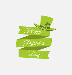 stpatrick s day ribbon with text and leprechaun vector image