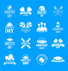 Tasty candy logo set simple style vector