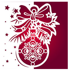 template for laser cutting christmas ball vector image