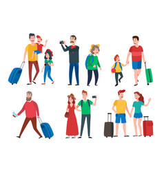 travel characters travelling group family couple vector image
