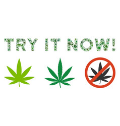 Try it now text mosaic of hemp leaves vector