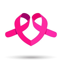 Two pink ribbons for breast cancer awareness help vector image