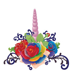 unicorn horn with roses vector image