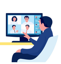 video online conference person meeting with group vector image