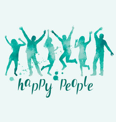 watercolor happy people silhouettes vector image
