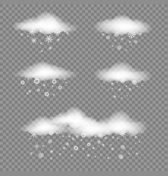 white clouds and snowfall vector image