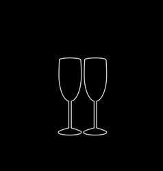 White outline icon of couple champagne glasses on vector