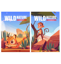 wild nature cartoon poster funny monkey and tiger vector image