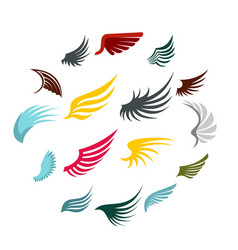 wing icons set flat ctyle vector image