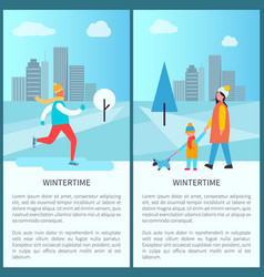 Wintertime city park posters vector