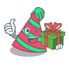 With gift party hat mascot cartoon vector