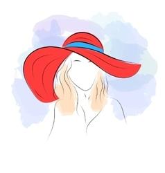 Woman in summer hat vector