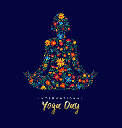 Yoga day card of woman in relaxation lotus pose vector