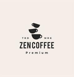 zen coffee balancing cup hipster vintage logo icon vector image