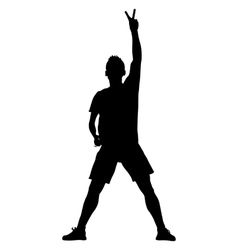 Silhouette man with his hand raised in the form of vector image vector image