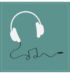 White headphones icon with black cord note shape vector image vector image