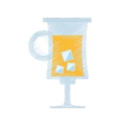 drawing cocktail glass cup with ice vector image vector image