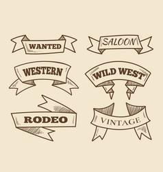 hand drawn western ribbons vintage design vector image vector image