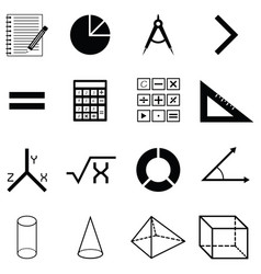 math icon set vector image
