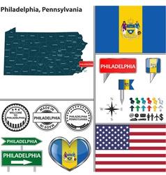 Philadelphia pennsylvania set vector