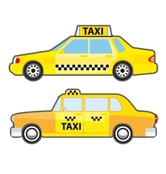 Set of car taxi service side view yellow vehicle vector