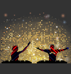 striped dj silhouette male and female vector image