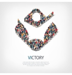 victory people sign 3d vector image vector image