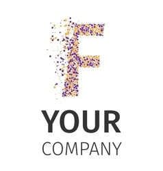 Alphabet particles logotype Letter-F vector image