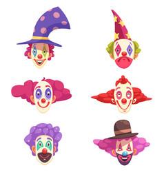 clowns masks set vector image vector image