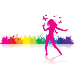 dancing girl rainbow vector image vector image