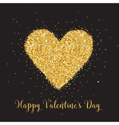 Love Card with Golden Glitter Heart vector image vector image