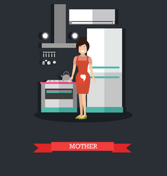 mother in kitchen concept in vector image