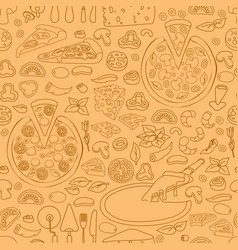 seamless pattern of hand drawn pizza vector image vector image