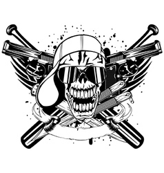 skull in cap knifes bats and two pistols vector image